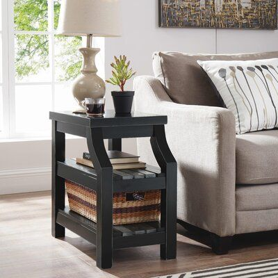 Breakwater Bay The accent side table is an element that gives functionality and versatility. Just add your Shabby Elegance style simple and elegant, you can customize this accent side table in any room of your home. Table Top Color: Black, Table Base Color: Grays