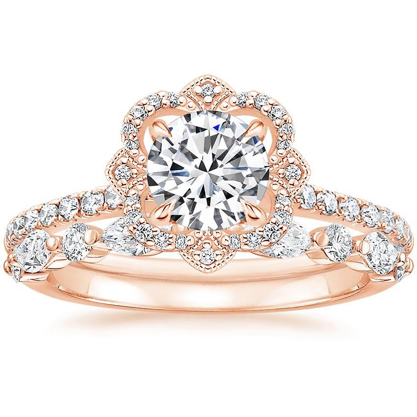 14k Rose Gold Reina Diamond Ring In 2020 Rose Gold Wedding Band Diamond Bridesmaid Jewelry Sets Pink Morganite Engagement Ring