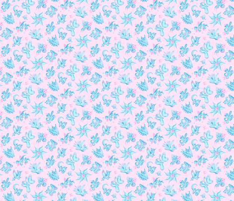 Fabric- Blue Designs- Small- Pink Background- Swirl
