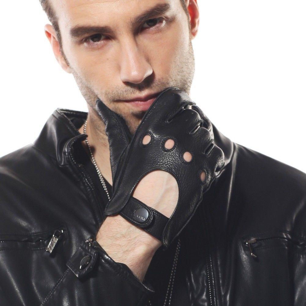 2015 Men's Deerskin Leather Gloves W/Buckle At Cuff Em002W