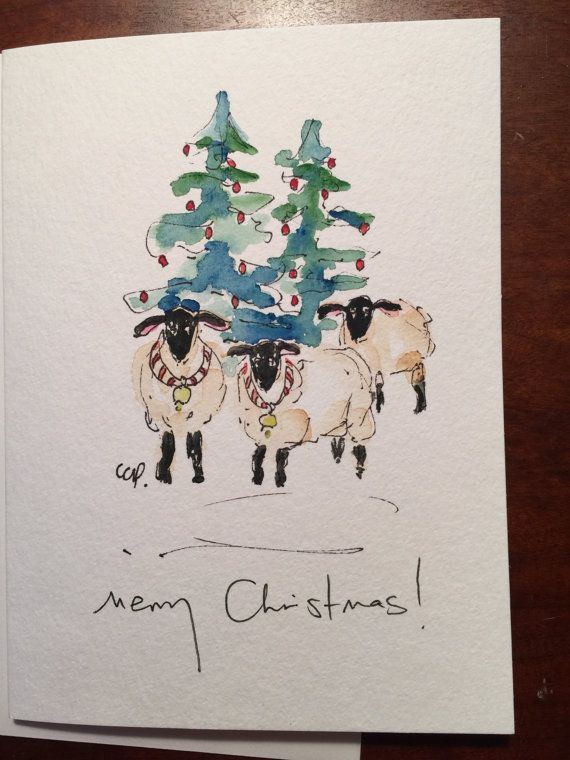 Christmas Ewes Watercolor Card Hand Painted By Gardenblooms
