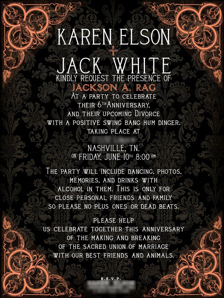 Invites sent out to people for Jack and Karen\'s divorce party ...