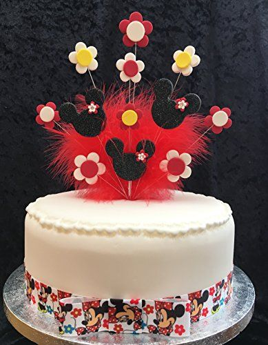 Minnie Mouse Birthday Cake Topper Black Red Yellow Wit https