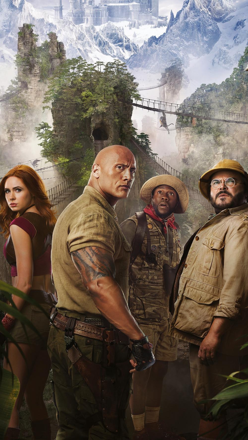 Jumanji: The Next Level, Kevin Hart, Dwayne Johnson, adventure movie, 2019, 2160x3840 wallpaper