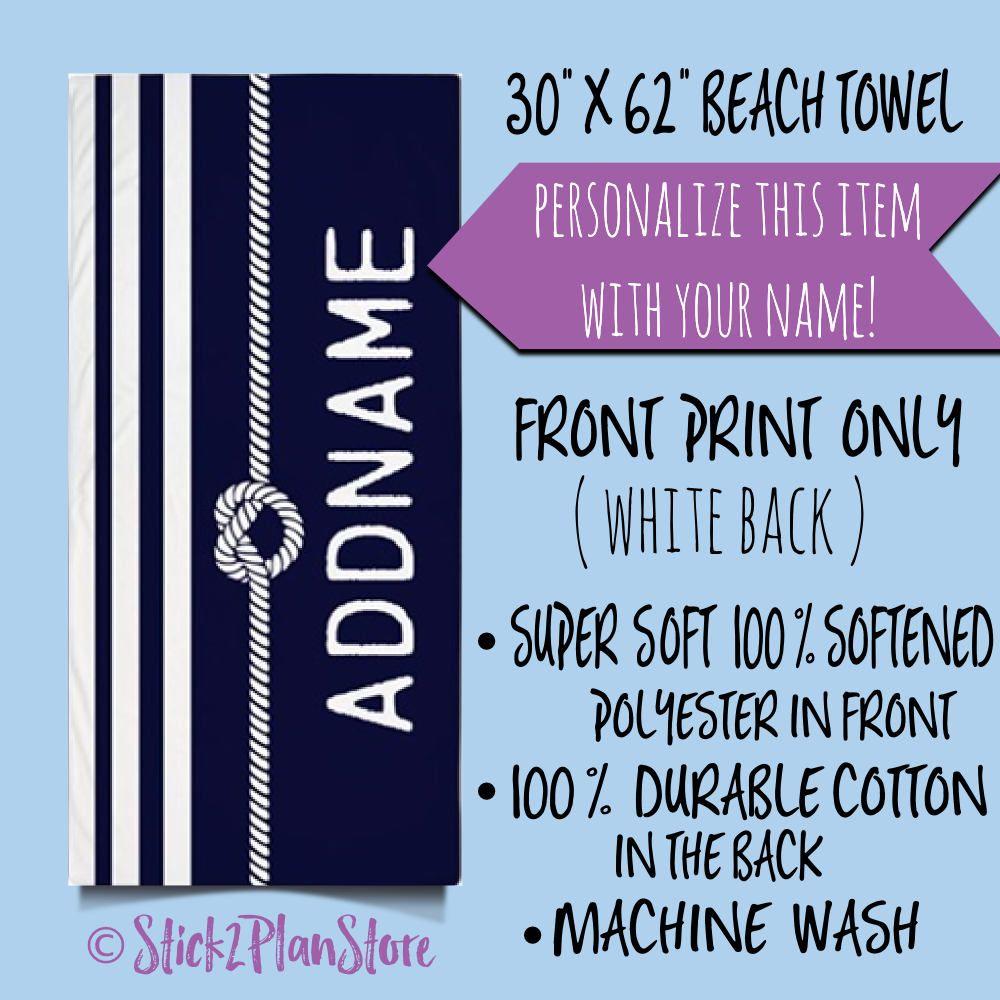 Personalized Beach Towel Name Monogram Navy And White Stripes Rope Knot