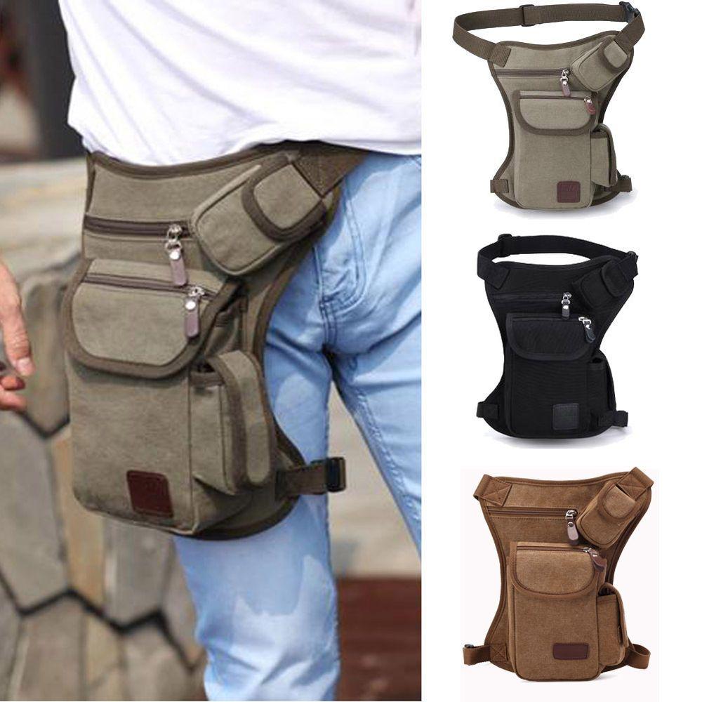 Men Canvas Drop Leg Bags Motorcycle Outdoor Sports Hiking Belt Waist Fanny Pack