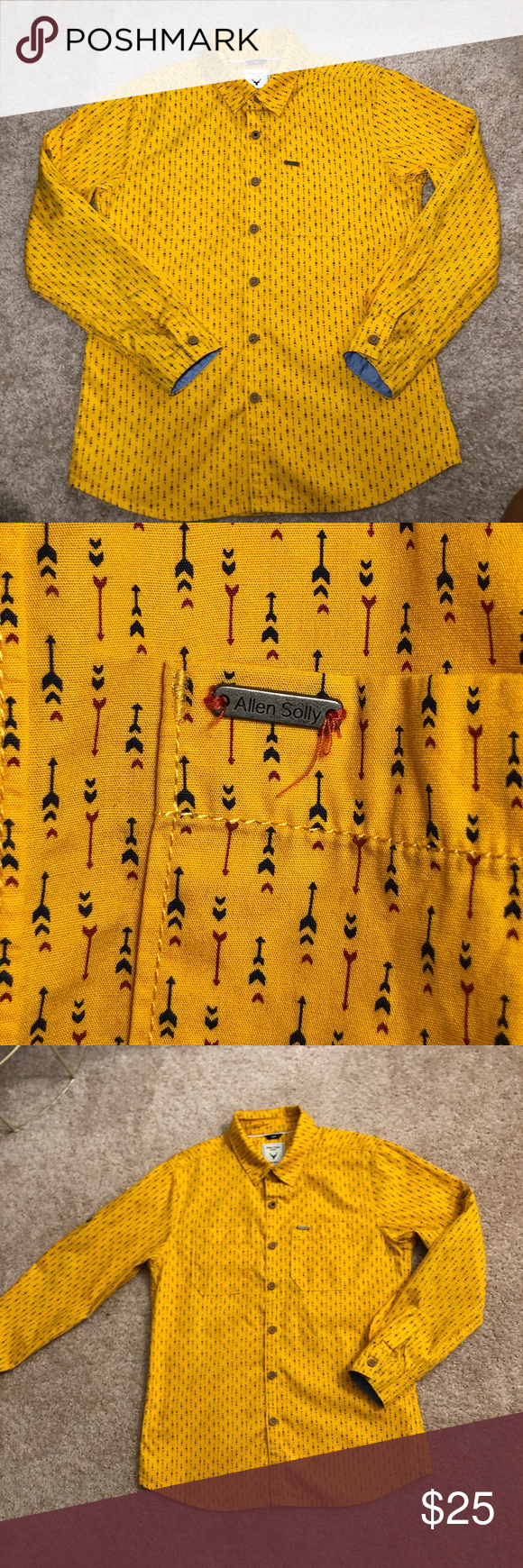 Allen Solly Jr Slim Fit Youth Collard Shirt Allen Solly Junior Collard Button Down Shirt For A Big Boy Youth Be Golden Yellow Color Slim Fit Arrow Print