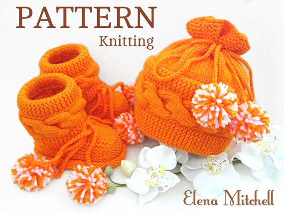 P A T T E R N Knitting Baby Set Baby Shoes Knitted Baby Hat Pattern ...