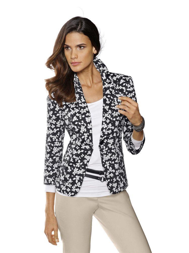 blazer col tailleur imprim fleurs noir et blanc tailleur femme pinterest fleur noir. Black Bedroom Furniture Sets. Home Design Ideas