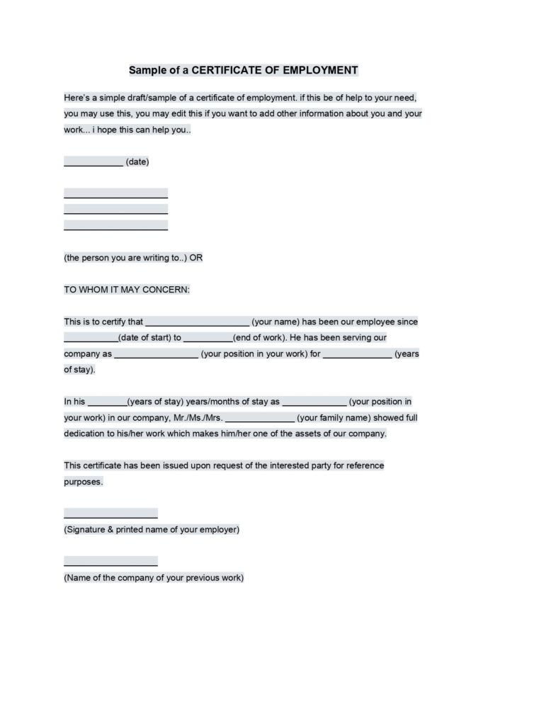 Sample Employment Certificate From Employer Google Docs In Employee Certificate Of Servic Editable Certificates Certificate Of Achievement Template Templates
