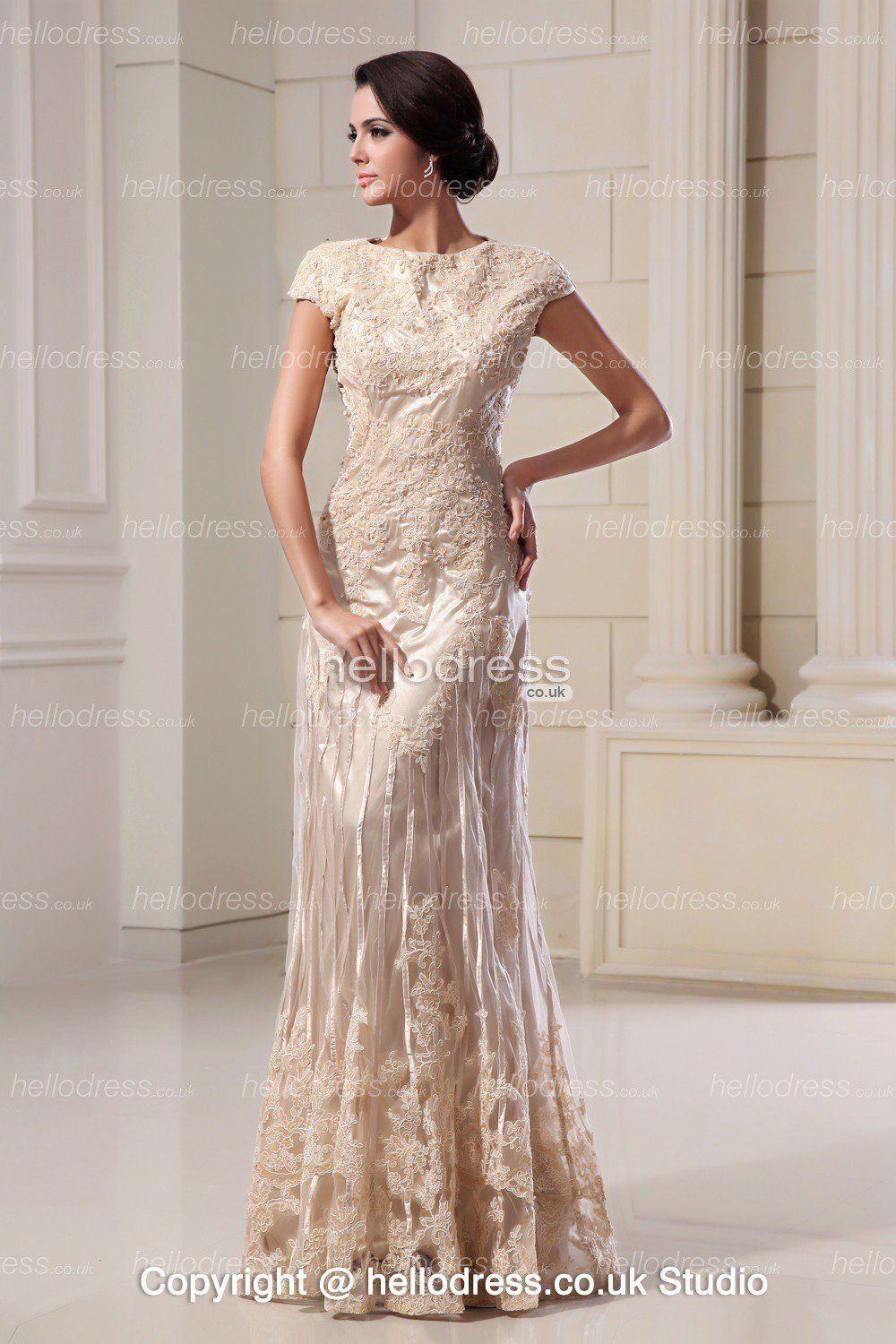 Elegant lace champagne a line long short sleeves wedding for Short wedding dresses uk