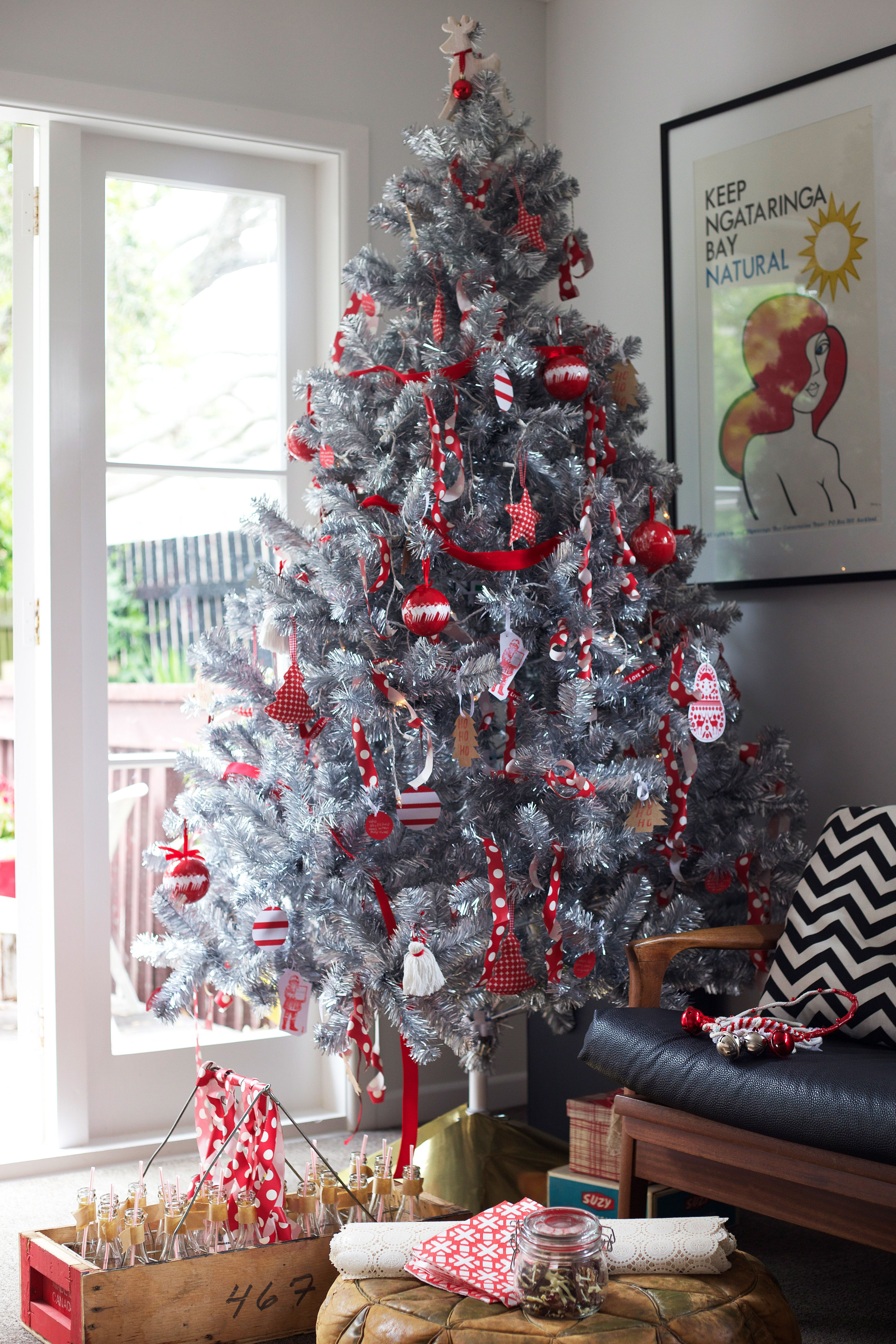 #Christmas Tree #Christmas Decorations #Silver Xmas Tree #Red Silver And