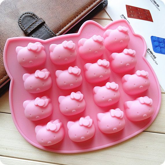 Hello Kitty Silicone Mold 16 Hole Cartoon Mould for Baking Cookie