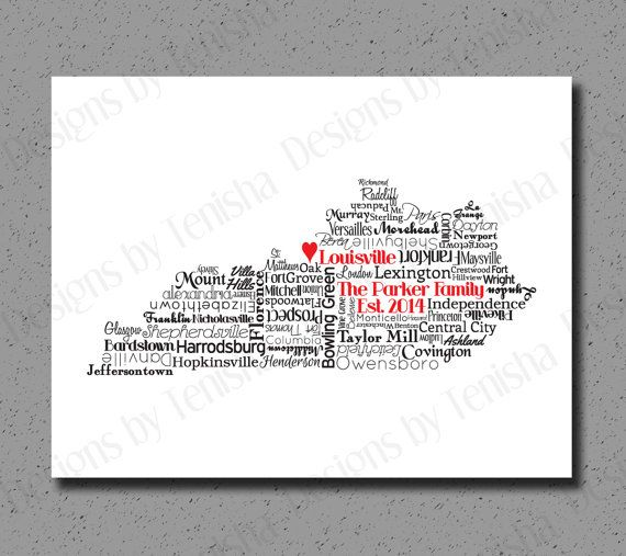 Kentucky Print KY State Art Kentucky Map Wedding Personalized - Ky map forms