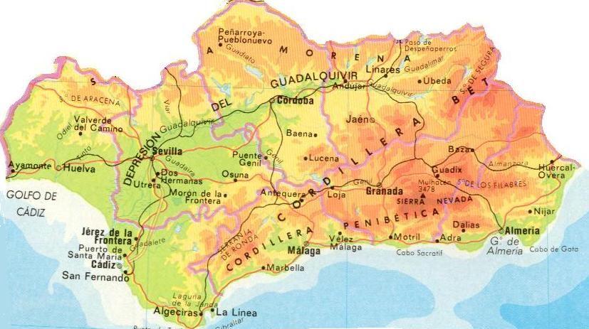 Mapa De Andalucía Físico.Mapa Fisico Andalucia Buscar Con Google Mapa Fisico