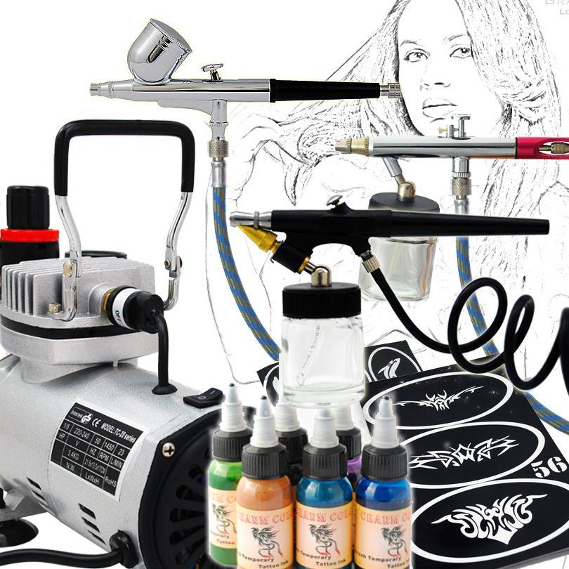 Professional Body Art Airbrush Kit Temporary Tattoo 3 Airbrushes ...