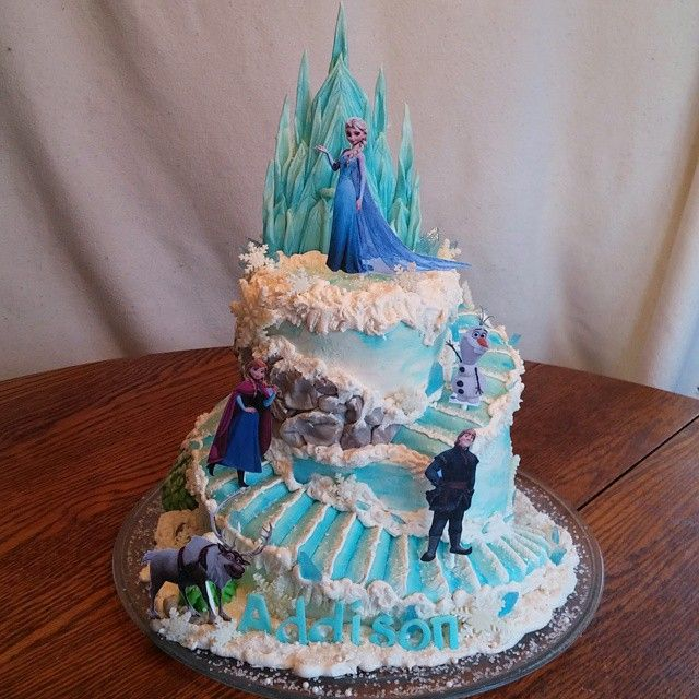 Addisons Frozen cake 8 inch and 6 inch 2 tier spiral cut