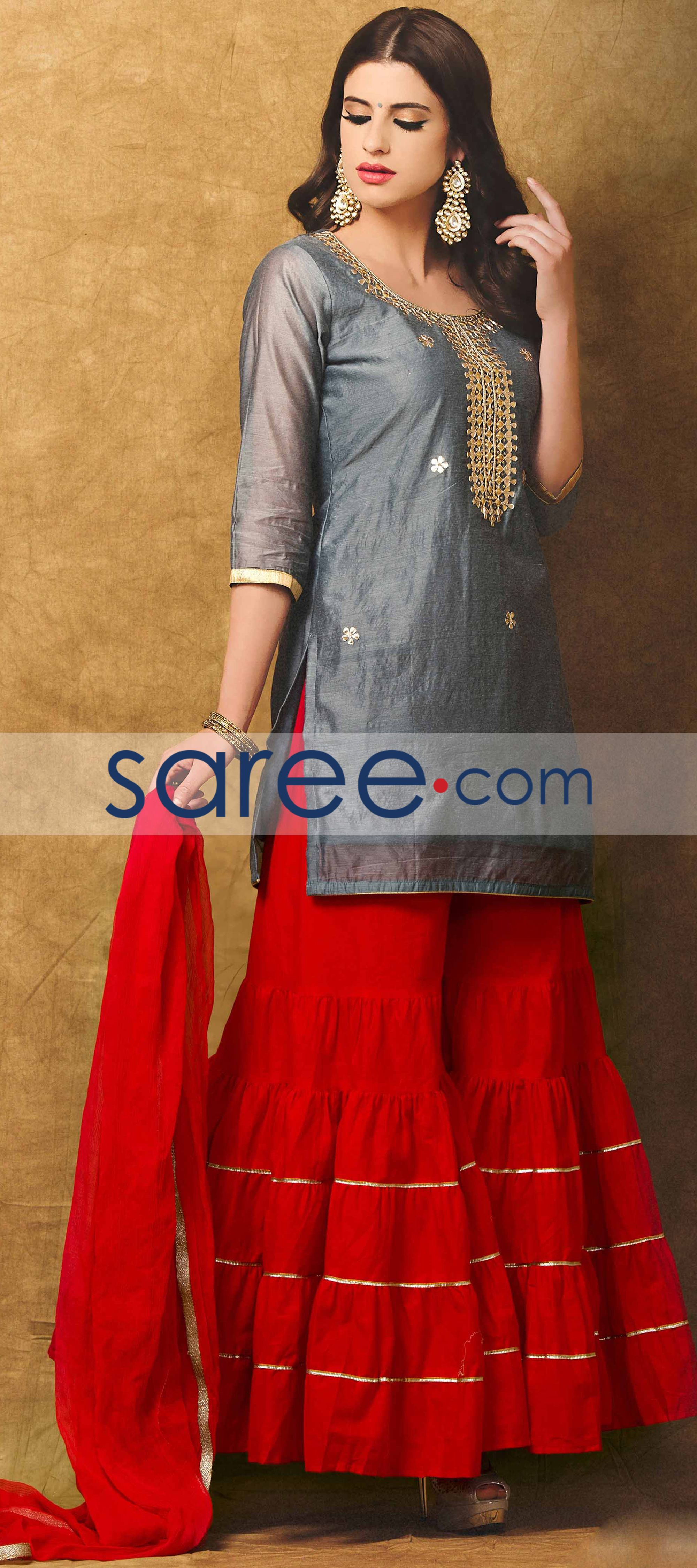 Grey chanderi suit with zari work gray desi and eid collection