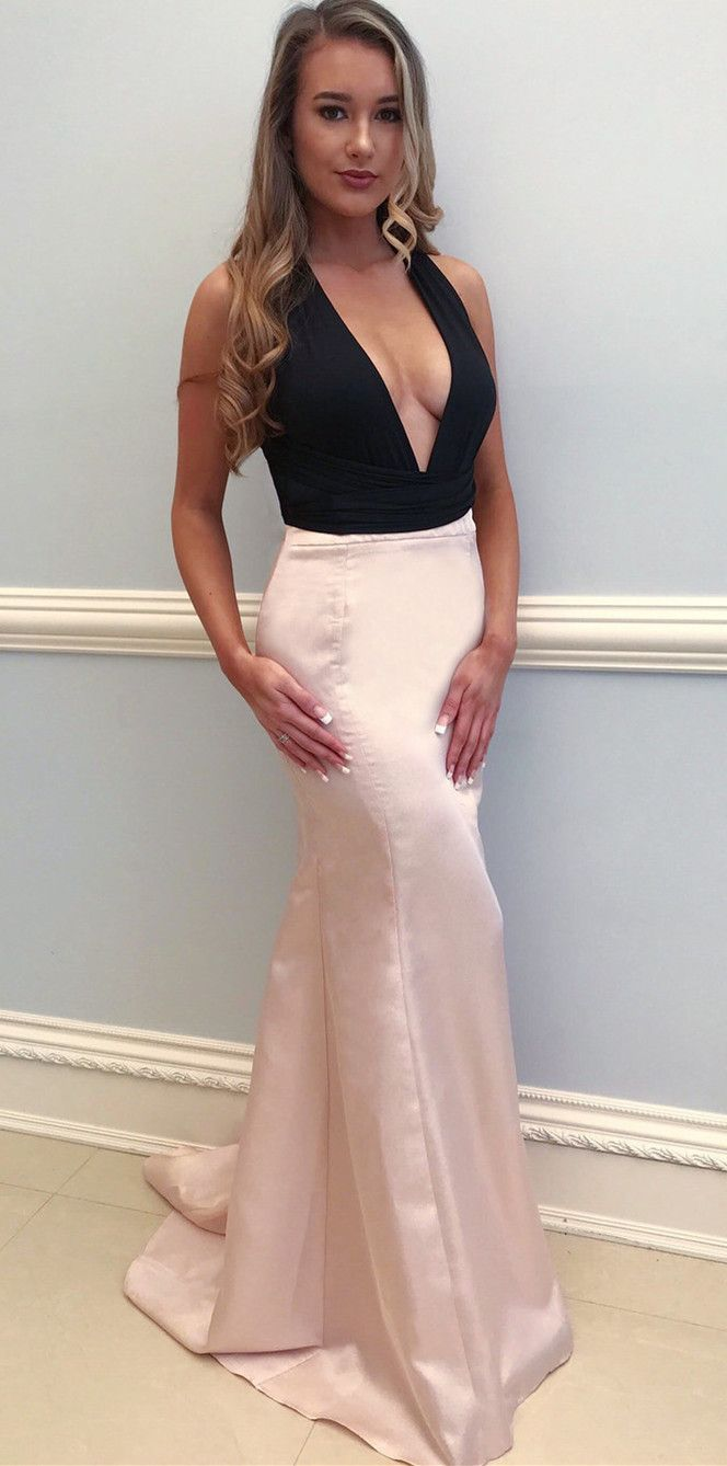 Sexy prom dress black and pink mermaid long prom dress deep v