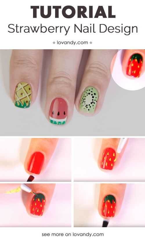 How To Do Strawberry Nails Desig Nail Art Tutorials 2018 Pinterest Pinele And Watermelon Designs