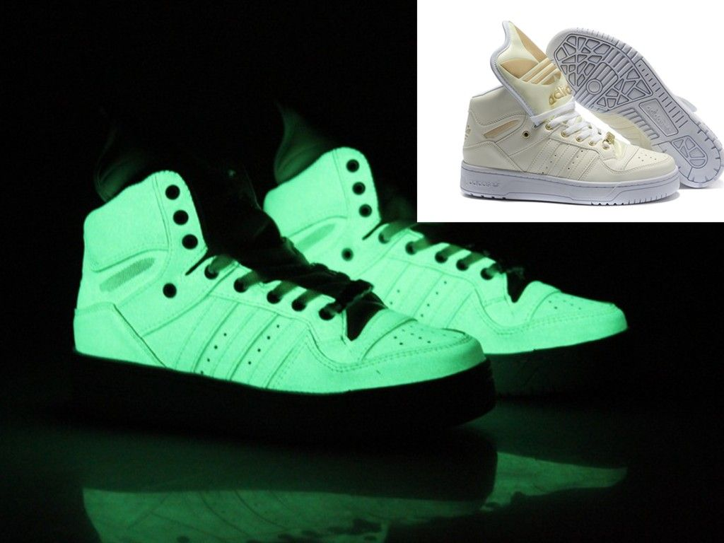 fa21a0f03aa7 Glow In The Dark Adidas Jeremy Scott Big Tongue White Shoes