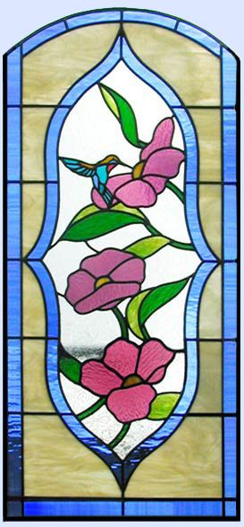 ZOOM To Hummingbird Flowers Stained Glass Window
