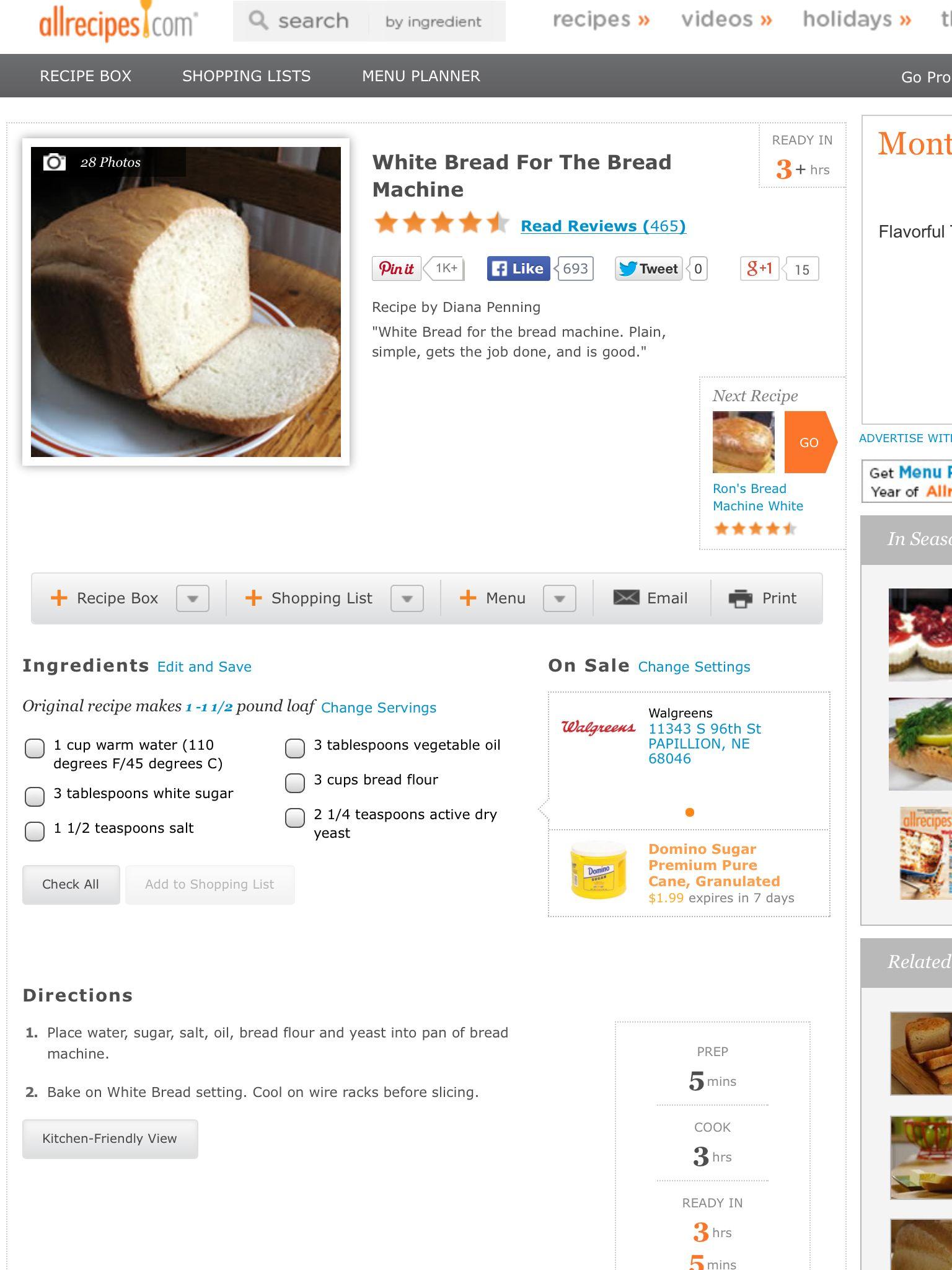 Allrecipes.com bread recipe. Can substitute AP flour ...
