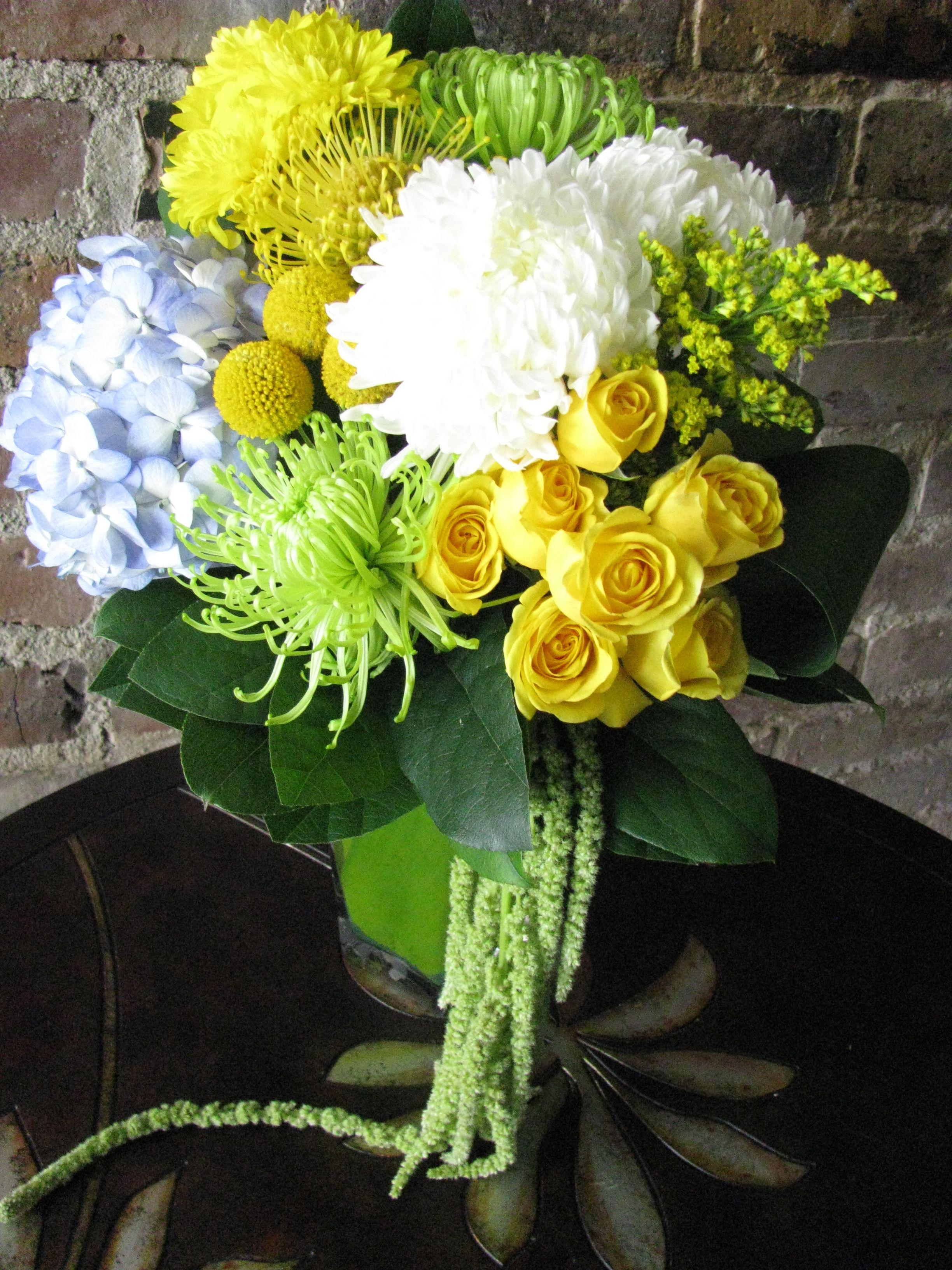 Yellow Spray Roses Football Mum And Craspedia Green Spider Mum And