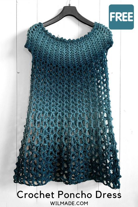 Crochet Poncho Dress - free crochet poncho pattern by Wilmade