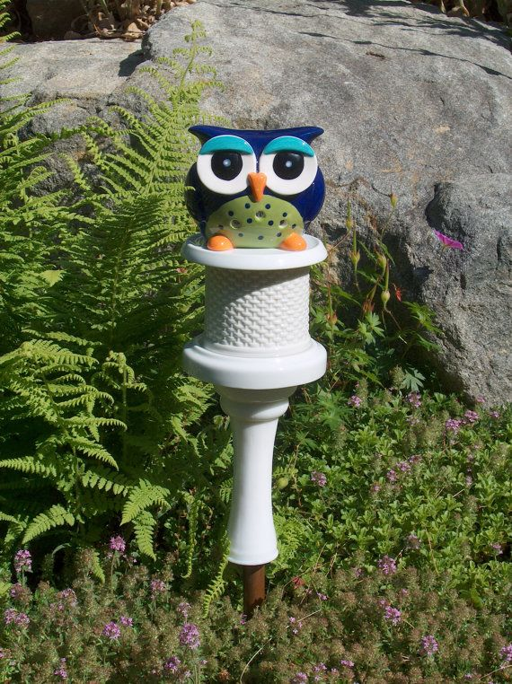 Owl Garden Stake By HappyCatCreation On Etsy
