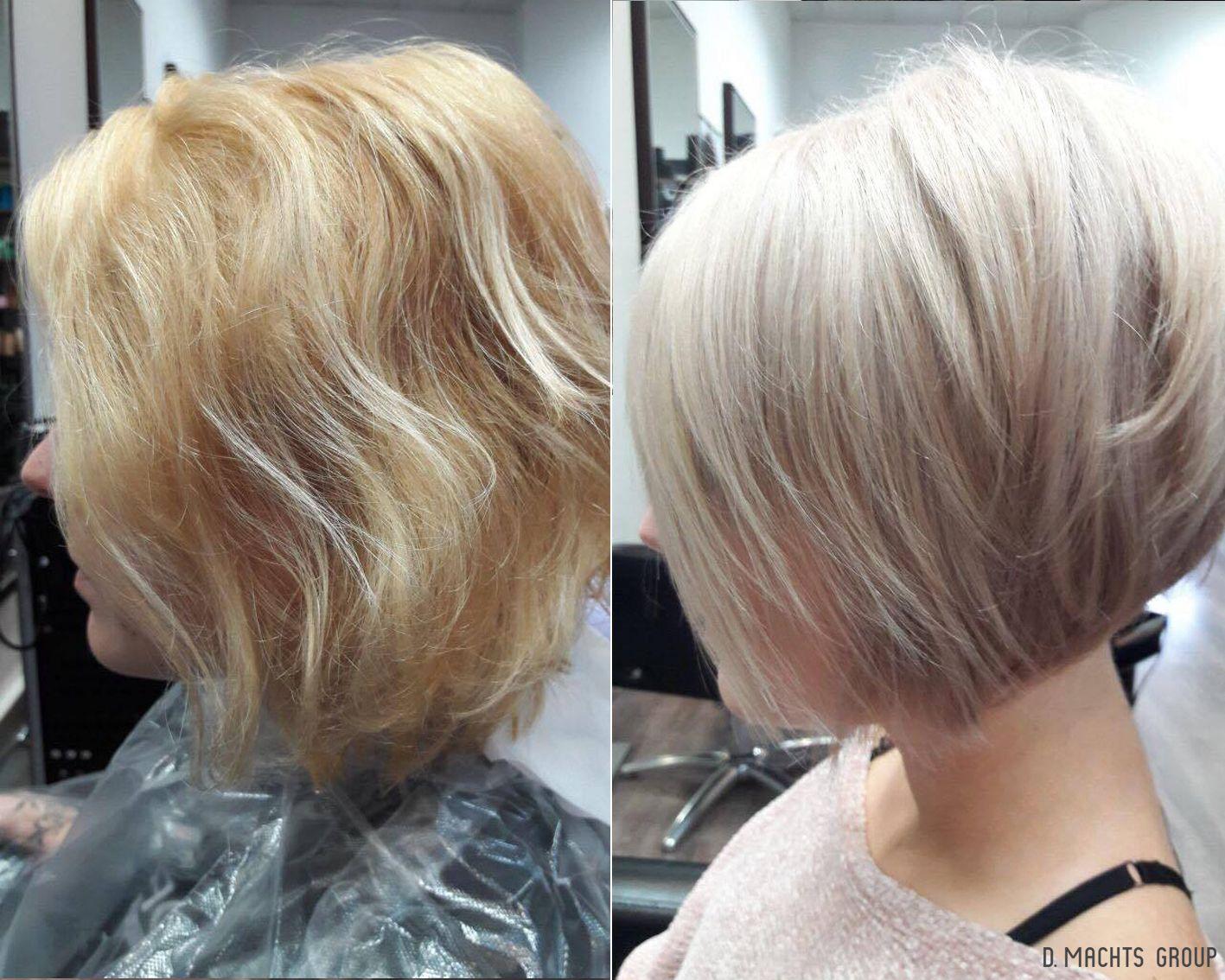 Vorher Nachher Frisuren Gestufter Haarschnitt Bob Kuhles Blond Haarfarbe Fur Kurzhaar Friseur In Berlin Dm Gestufter Haarschnitt Haarschnitt Kuhles Blond
