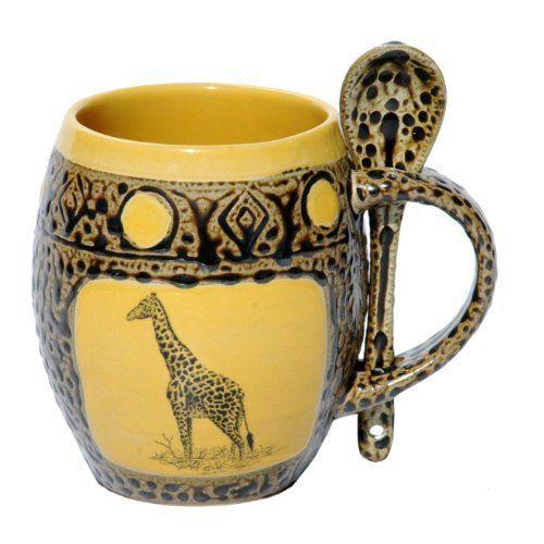 Giraffe Mug with Spoon in Dark Yellow by Always Azul Pottery, http://www.amazon.com/dp/B0055EAQR8/ref=cm_sw_r_pi_dp_rDLgrb0HTH1G9