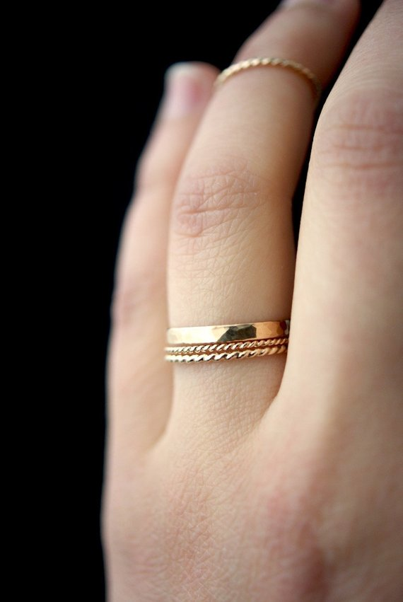 Mixed Metal Rings Stackable Rings Silver and Gold Rings Thin Rings Set of 3 Hammered Stacking Rings Gift for Her Stacking Ring Set