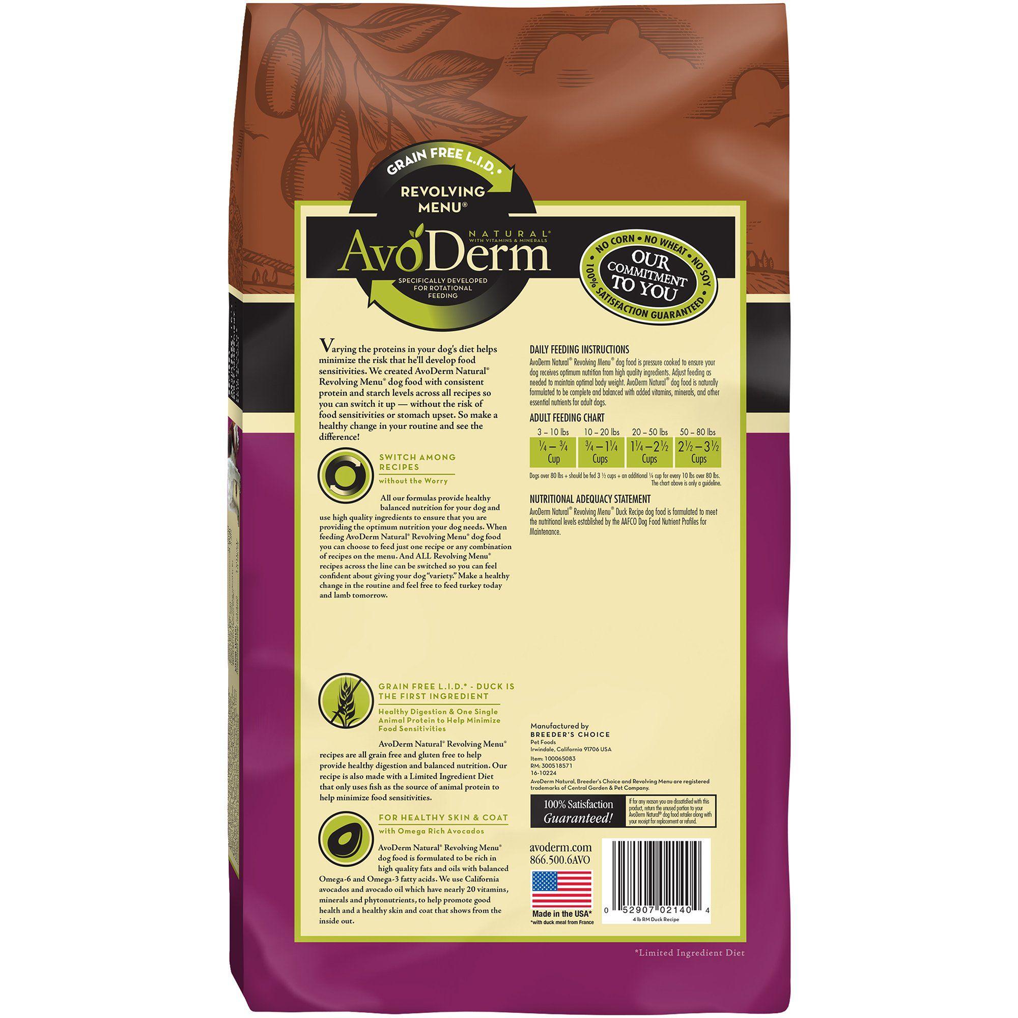 Avoderm Natural Revolving Menu Duck Recipe Dry Dog Food 4 Lbs