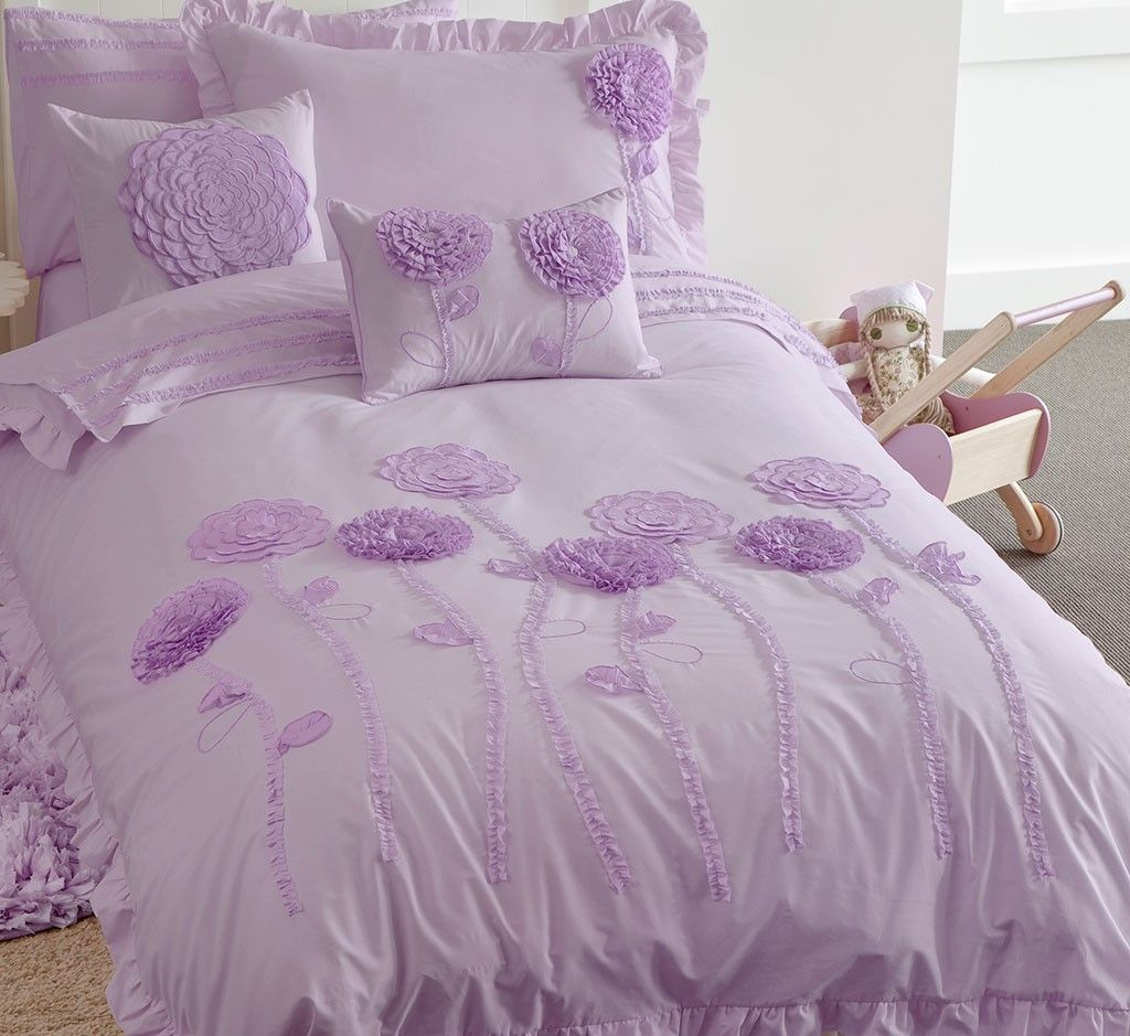 Floret Lilac Quilt Cover Set Kids Bed Linen Quilt Cover Sets Pink Bedding