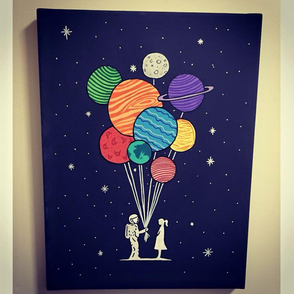Space balloon canvas | painting | Pinterest | Schreiben, Gestalten ...