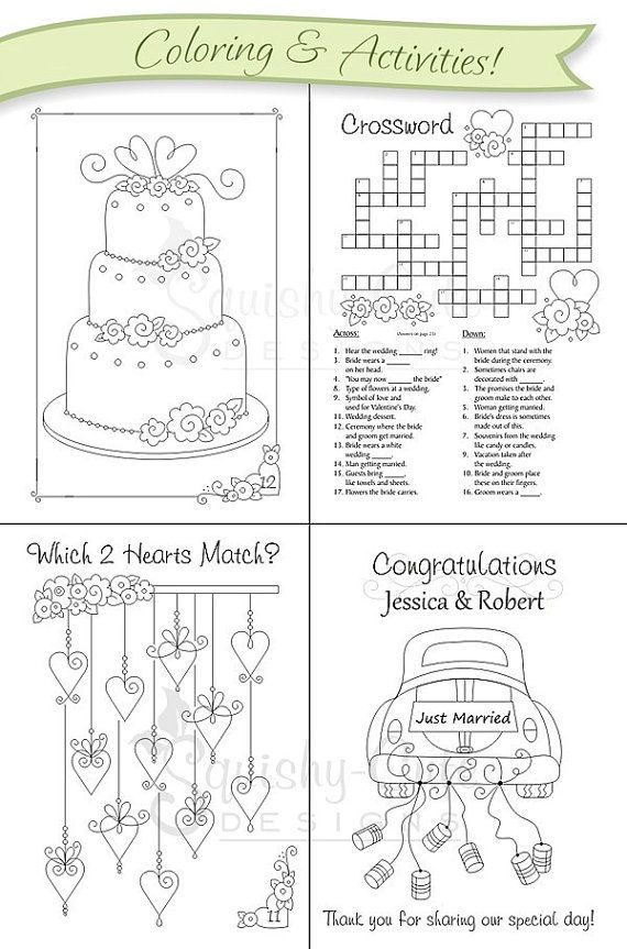 Wedding+Coloring+Book++Kids+Wedding+Favors++by+SquishyCuteDesigns,+$ ...
