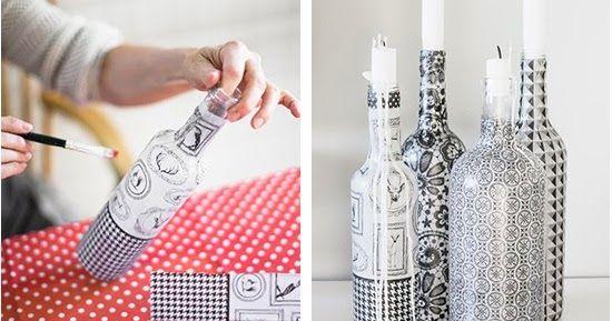 Craft and Creativity -blogista löytyi tämä pullojen koristeluidea.