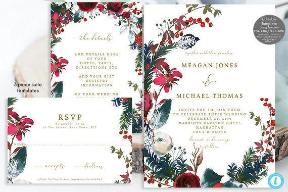 Winter wedding invitation set templates, christmas wedding invitation printable, christmas