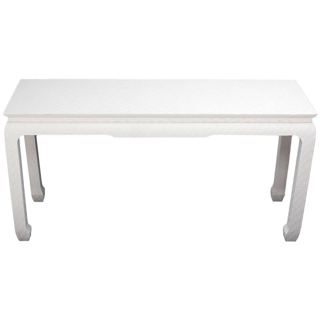 Cloth covered white lacquer console sofa table by baker grass cloth covered white lacquer console sofa table by baker geotapseo Gallery