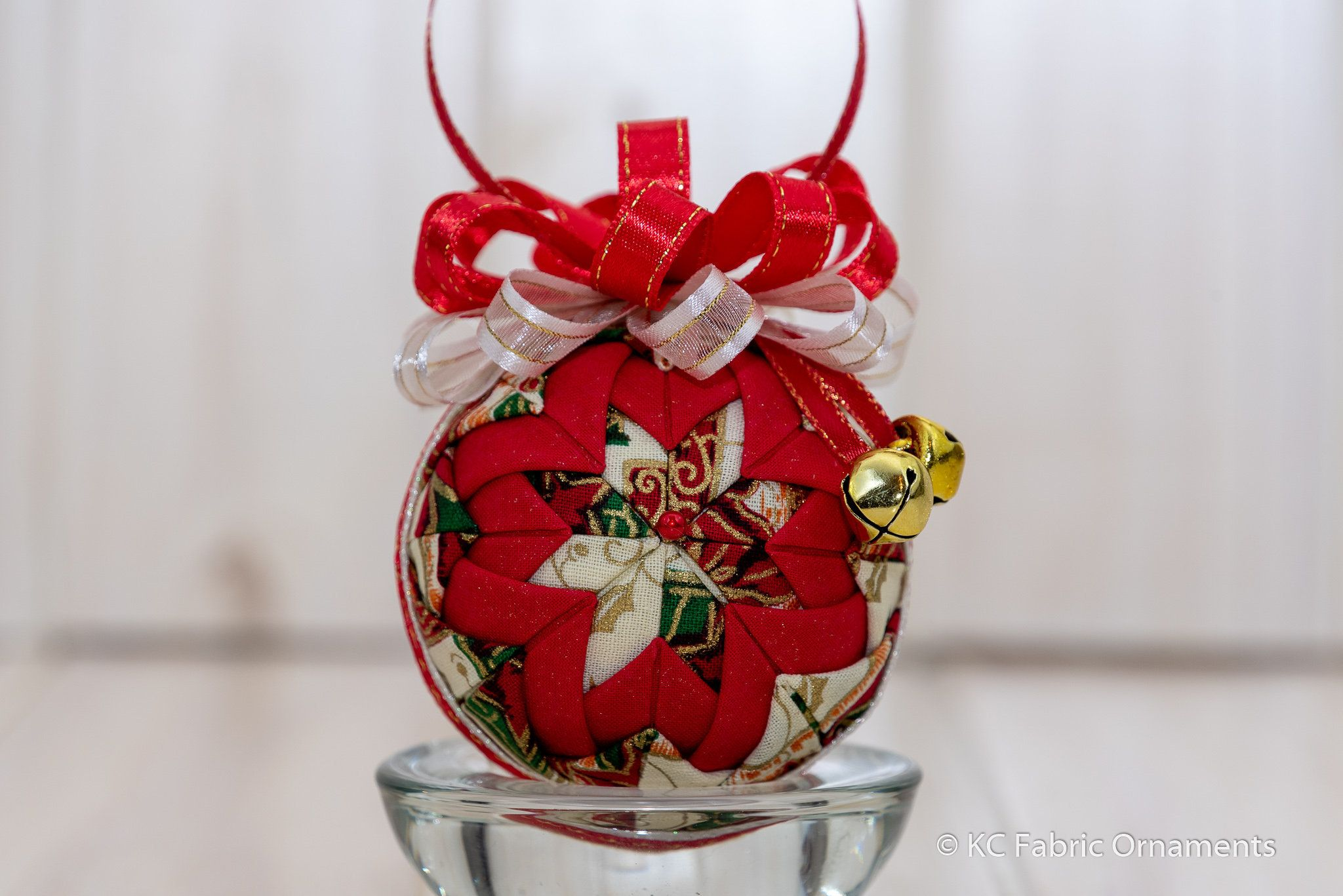 Quilted Ornament Folded Fabric Christmas Ornament Metallic Poinsettia Fabric And Red Sparkle Fa Fabric Ornaments Quilted Fabric Ornaments Quilted Ornaments