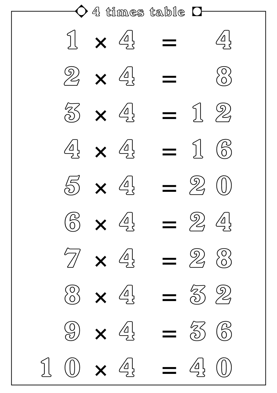 4 Times Table Worksheets Printable