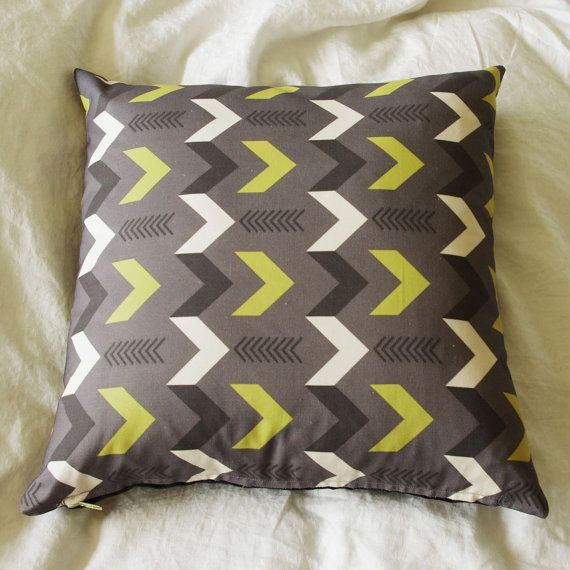 Gray and Mustard Arrow Design Pillow Cover