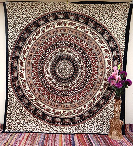 Elephant Deer Round Mandala Tapestry Tapestries Wall Hanging Decor Bedspread Hippie Bedsheet Coverlet Beach Throw TheNanoDesigns http://www.amazon.com/dp/B0148TKIZU/ref=cm_sw_r_pi_dp_6i99vb0R4H4YF