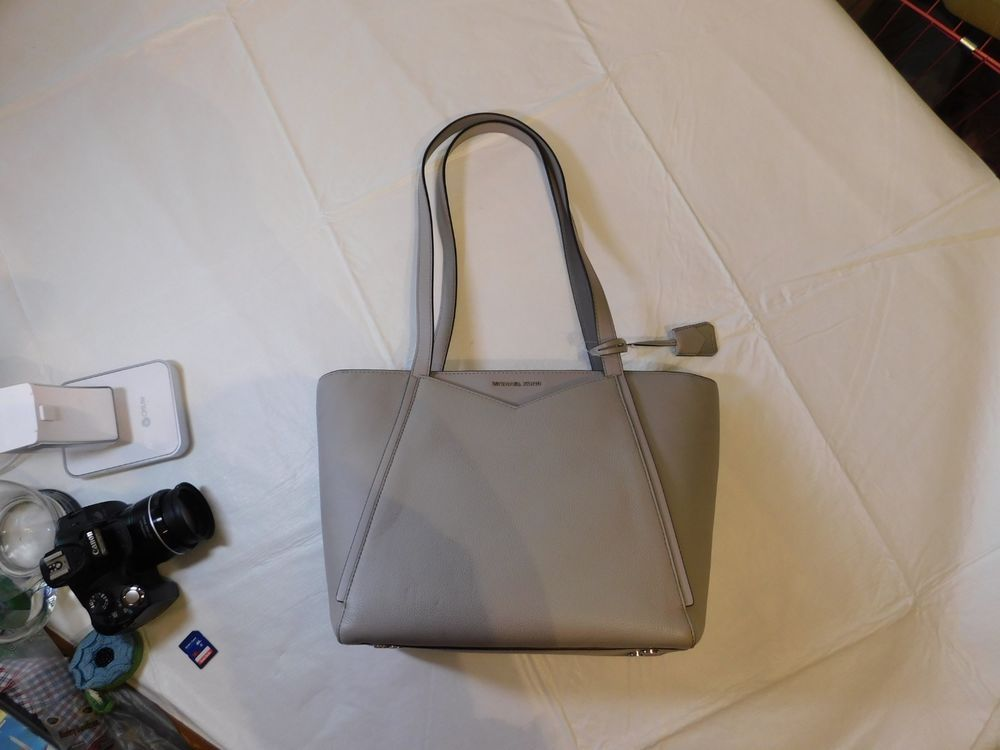 f3b204f8476 Michael Kors Whitney Small TZ Tote Pebbled Leather Pearl Grey Purse ...