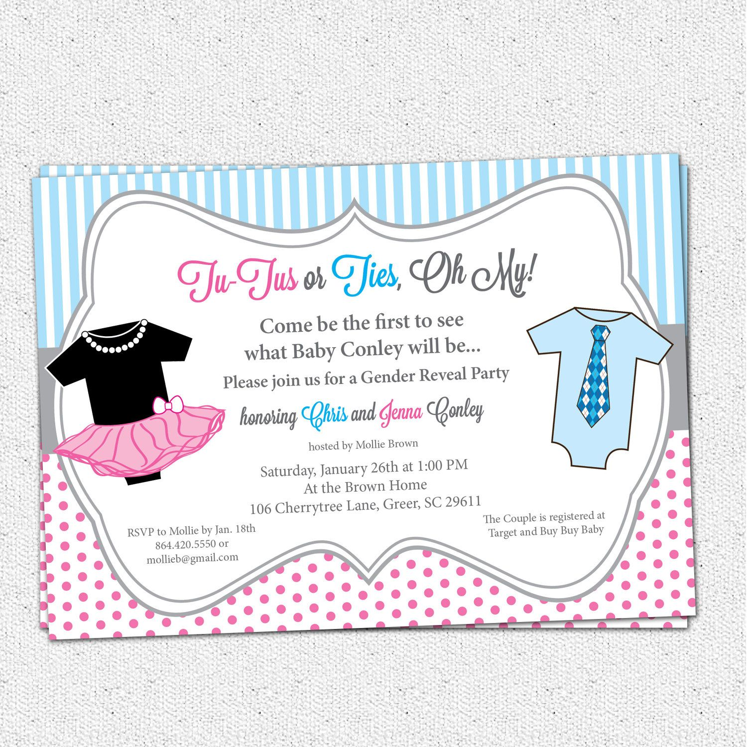 TuTus or Ties Gender Reveal Baby Shower Party Invitation – Invitations for Gender Reveal Party