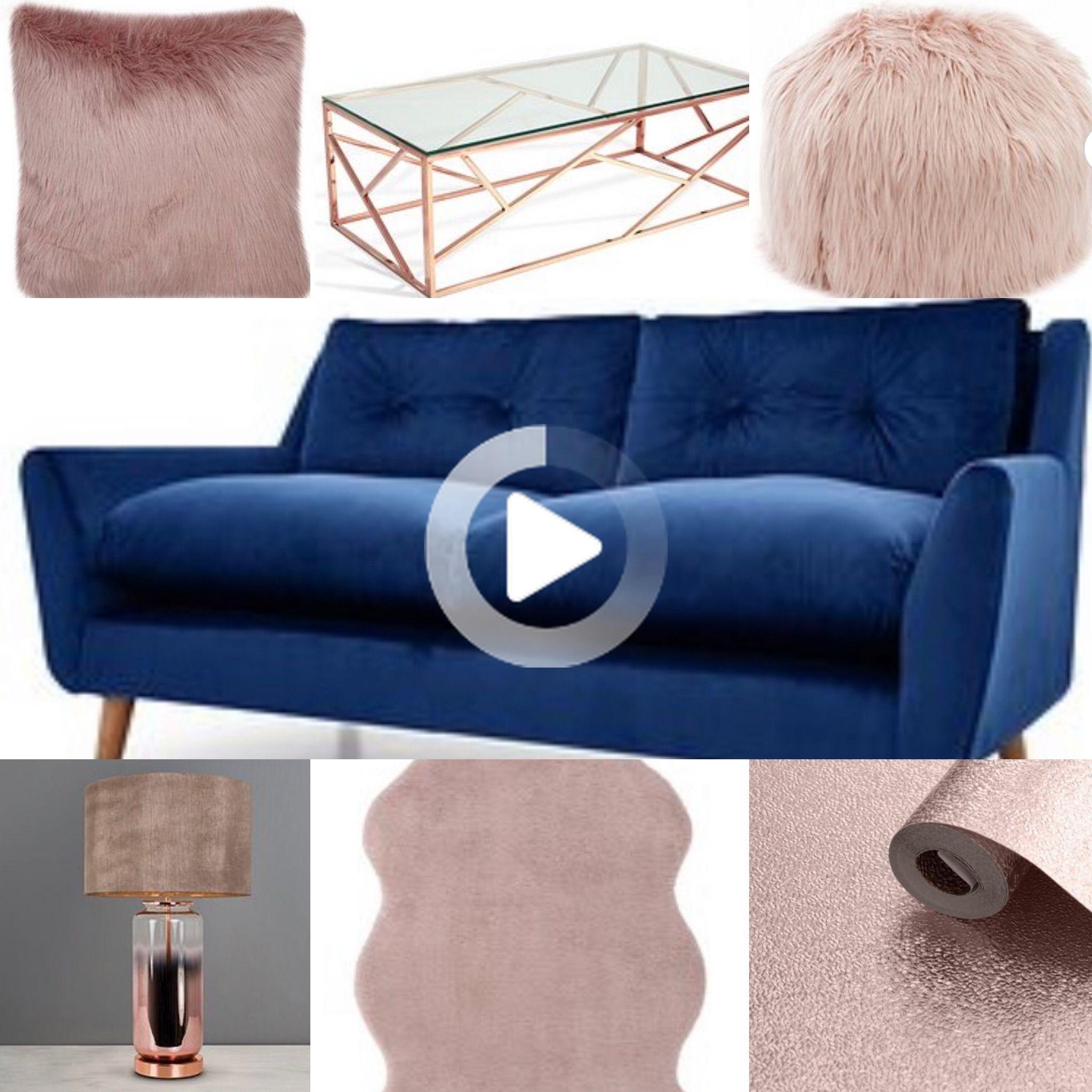 Navy Blush Rose Gold Living Room Idea Gold Living Room Decor Rose Gold Room Decor Blue And Copper Living Room