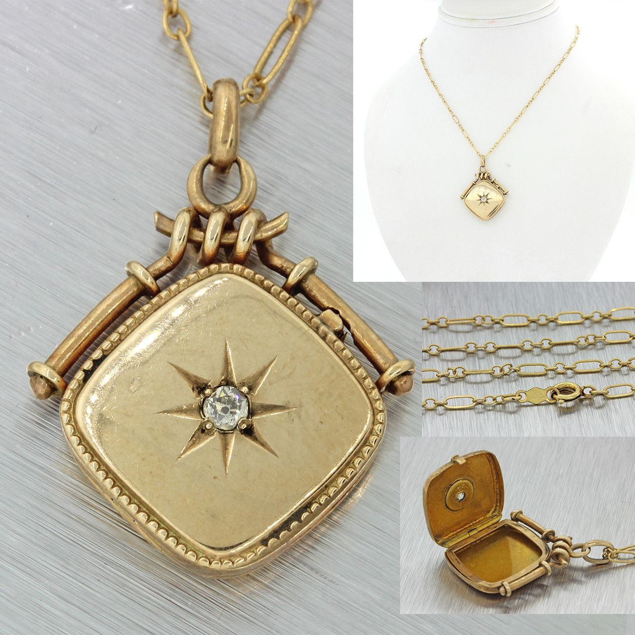 S antique victorian k solid gold ct diamond locket pendant