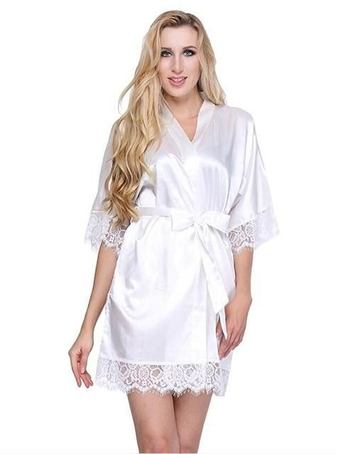 d36126c7db2bd Sexy Wedding Dressing Gown Women Short Satin Bride Robe Lace Silk ...