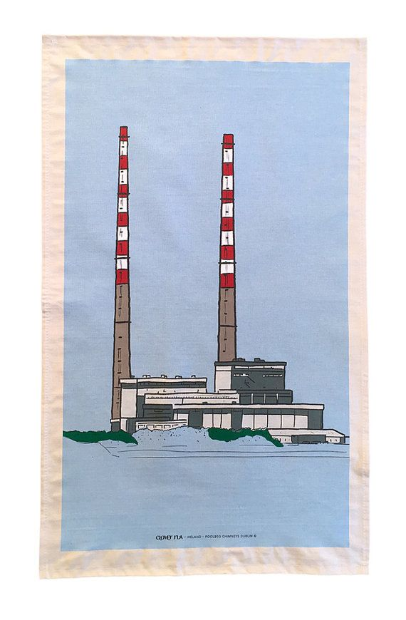 Tea Towel Poolbeg Chimneys Dublin Line Drawing Line Drawing Original Drawing Drawings